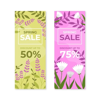 Hand drawn spring sale banners collection