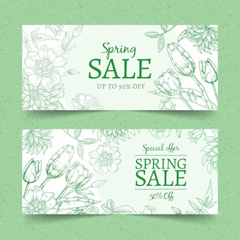 Hand drawn spring sale banners concept