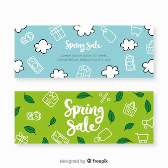 Hand drawn spring sale banners