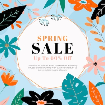 Hand drawn spring sale concept