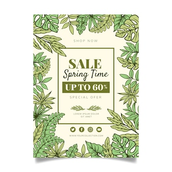 Hand drawn spring sale flyer template concept