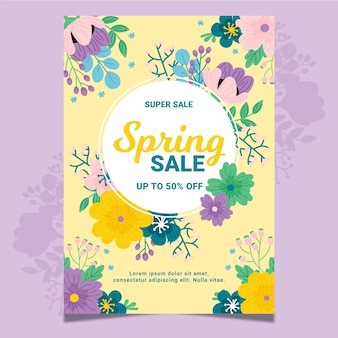 Hand-drawn spring sale flyer template theme