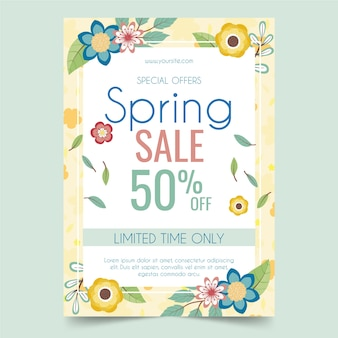 Hand drawn spring sale flyer template with discount