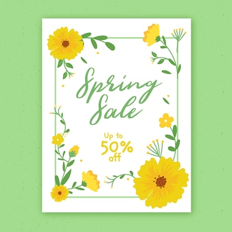 Hand drawn spring sale flyer template with flowers