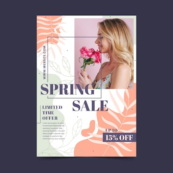 Hand drawn spring sale flyer template with photo