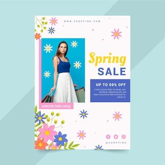 写真付き手描き春セールチラシテンプレート