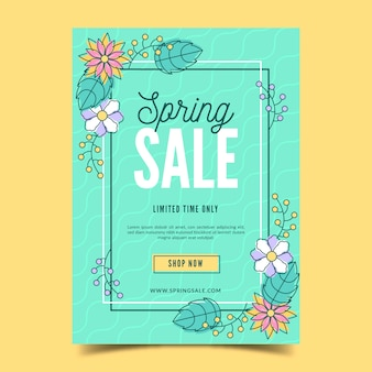 Hand drawn spring sale flyer template