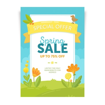 Modello di volantino di vendita primavera disegnata a mano