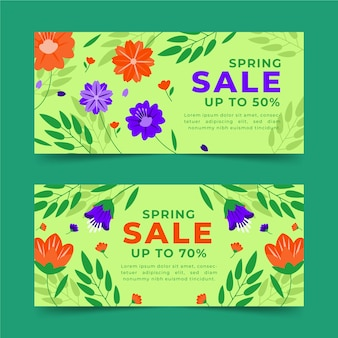 Hand drawn spring sale horizontal banners with discounts