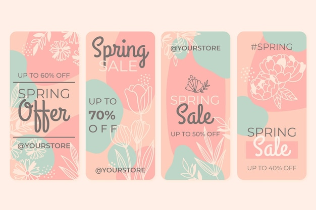 Hand drawn spring sale instagram stories collection