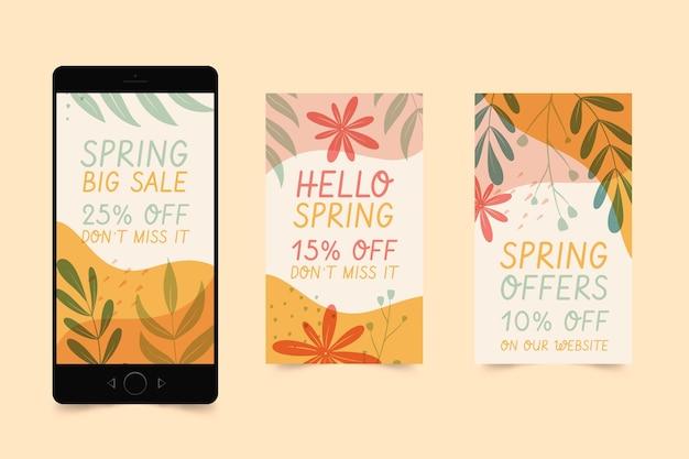손으로 그린 봄 판매 instagram 이야기 모음