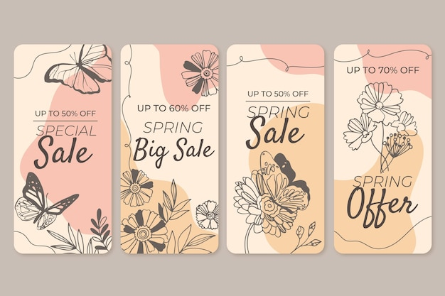 Hand drawn spring sale instagram stories set