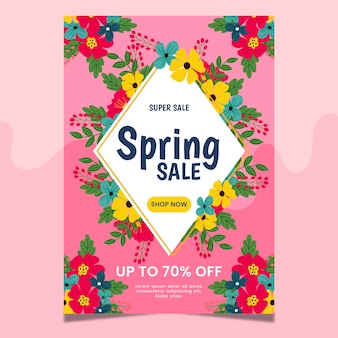 Hand-drawn spring sale poster template