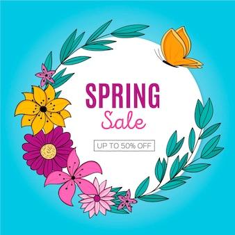 Promozione di vendita di primavera disegnata a mano