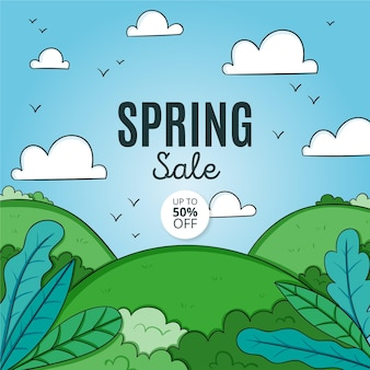 Hand drawn spring sale promo