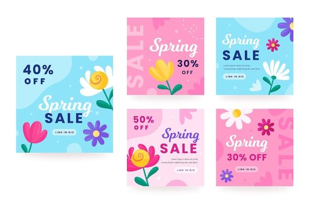 Pacchetto di post sui social media di vendita di primavera disegnata a mano