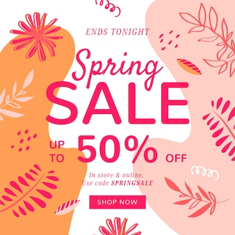Hand drawn spring sale with leaves and pastel-coloured stains