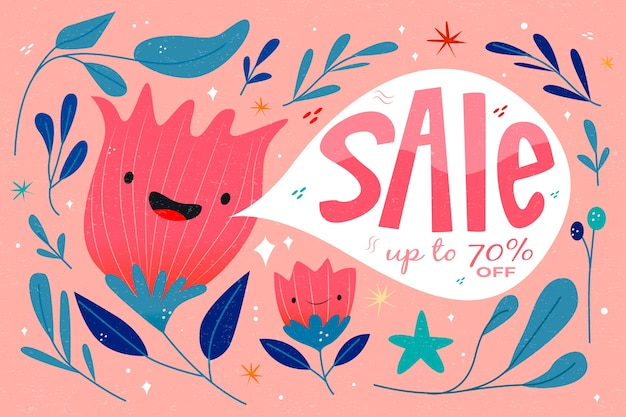 Hand drawn spring sale with smiley abstract flowers
