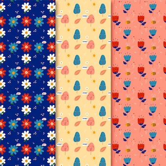 꽃과 나무와 손으로 그린 봄 완벽 한 패턴