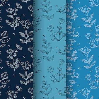 Hand drawn spring season floral  seamless pattern sets