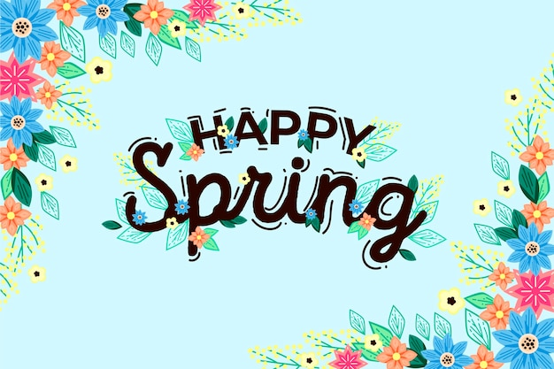 Hand-drawn spring theme for wallpaper