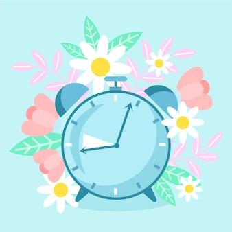 Нарисованная от руки иллюстрация изменения времени весны с часами и цветами