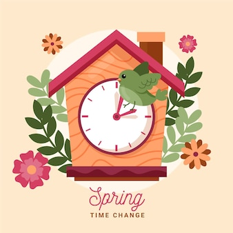 Hand-drawn spring time change illustration with clock and bird