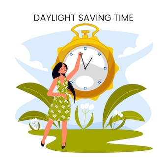 Нарисованная от руки иллюстрация изменения времени весны с женщиной и часами
