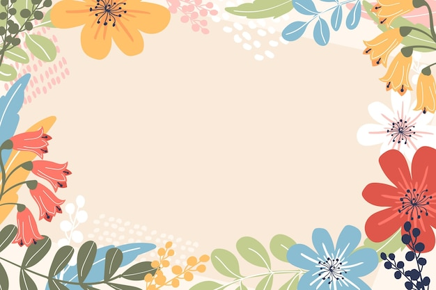 Hand drawn spring wallpaper with empty space