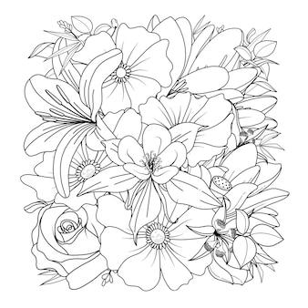 Нарисованная рукой квадратная цветочная иллюстрация