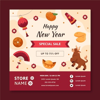 Hand-drawn square flyer template for chinese new year