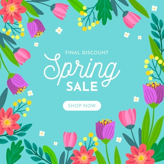 Hand drawn squared banner with spring sale