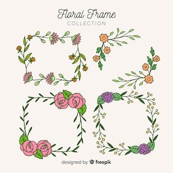 Hand drawn squared floral frame set