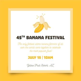 손으로 그린 제곱 전단지 바나나 축제