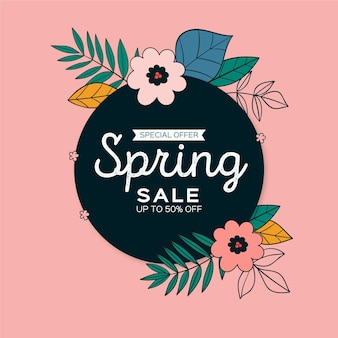 Hand drawn squared spring sale banner