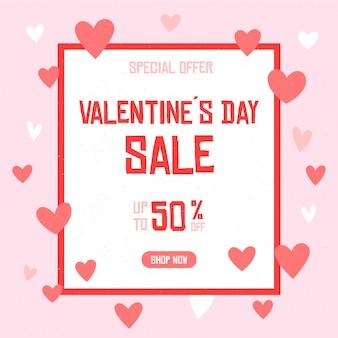 Banner di vendita di san valentino quadrato disegnato a mano