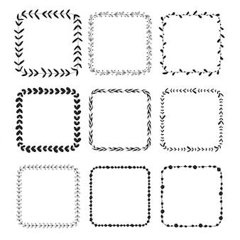 Hand drawn squre doodle floral frames.