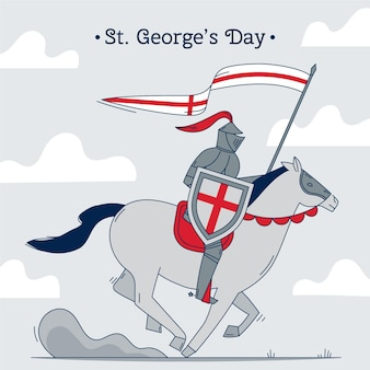 Hand drawn st. george's day illustration with knight on horse holding flag and lance