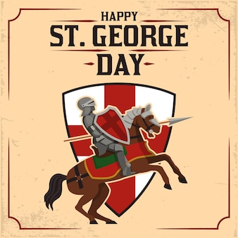 Hand drawn st. george's day illustration with knight