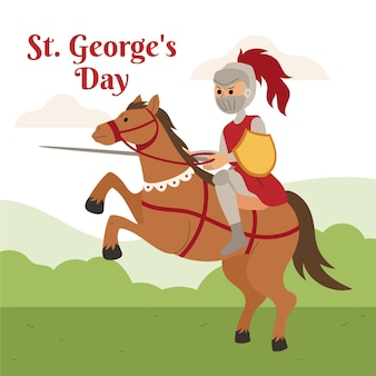 St disegnato a mano. illustrazione del giorno di george con il cavaliere