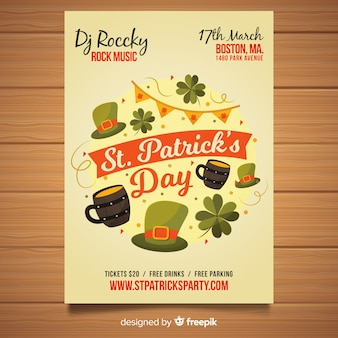 Hand drawn st patrick elements day party poster