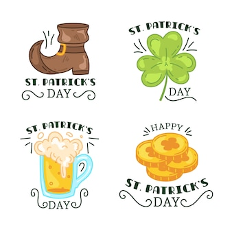 Hand drawn st. patrick's day badge collection