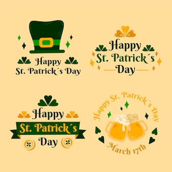 Hand-drawn st. patrick's day badge collection
