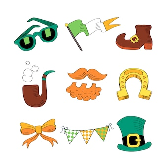 Hand drawn st. patrick's day element collection with flag and pipe