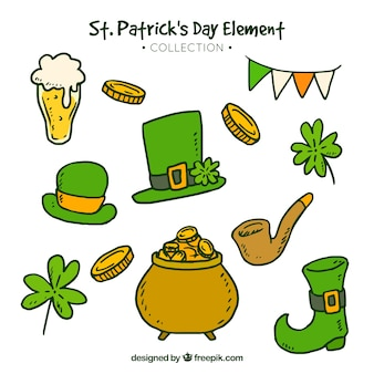 Hand drawn st patrick's day element collection