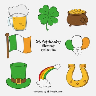 Hand drawn st. patrick's day element collection