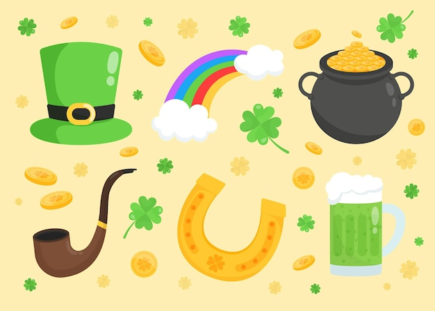 Hand-drawn st. patrick's day elements collection