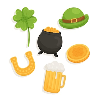 Hand drawn st. patrick's day elements set