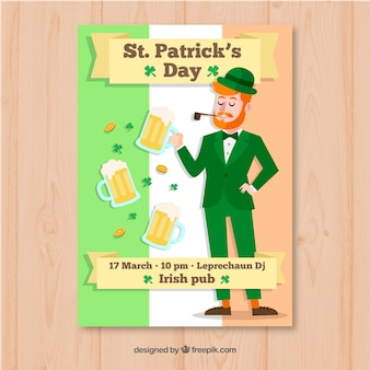 Hand drawn st. patrick's day flyer / poster template