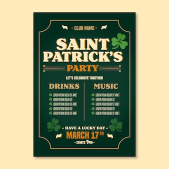 Hand drawn st. patrick's day flyer template